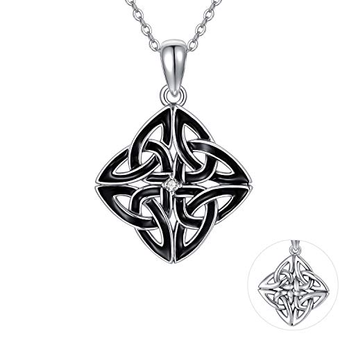 Waysles Celtic Knot Pendant Necklace Oxidized 925 Sterling Silver Vintage Irish Celtic Knot Necklaces Vintage Square Good Luck Gift for Girls/Teens/Women