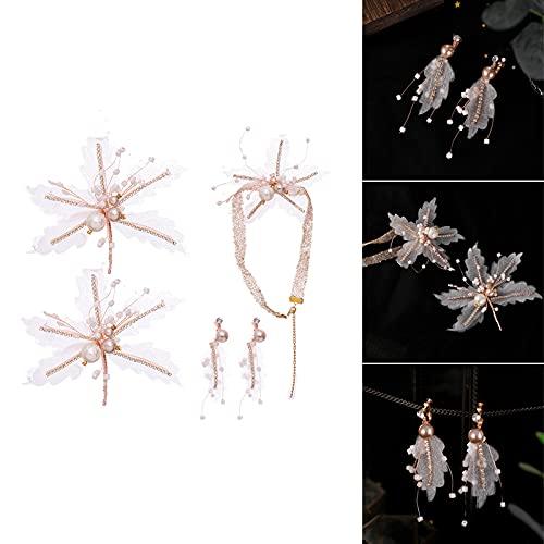 laoonl Tiaras de princesa para niñas, tiaras de mujer, cabeza ornamento con pendientes conjunto novia perlas coreanas hiladas flores vestido de novia accesorios de cristal tejido horquilla