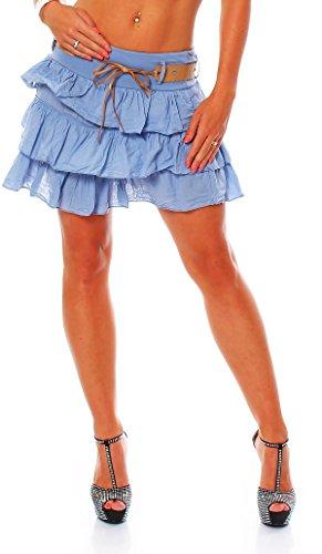 Zarmexx süsser Damen Volantrock Sommerrock Minirock mit Gürtel Baumwolle Rüschen Rock (Jeansblau, one Size)