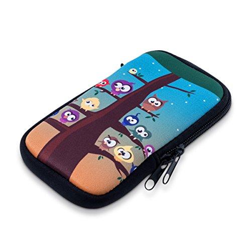 kwmobile Funda Universal para móvil de M - 5,5' - Estuche de Neopreno con Cierre - Carcasa búho árbol