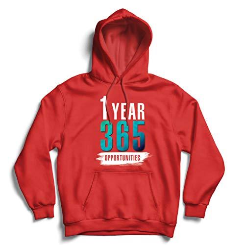 lepni.me Sweatshirt à Capuche Manches Longues 1 an 365 Opportunités Idées de Cadeaux d'anniversaire Inspirantes (Medium Rouge Multicolore)