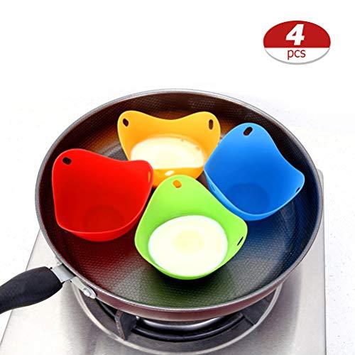 Sarplle Eier-Pochierer 4 Stück Eier-Pochierbecher Silikon Eierkocher Tassen Pfanne Kuchenform für Küchen Mikrowelle