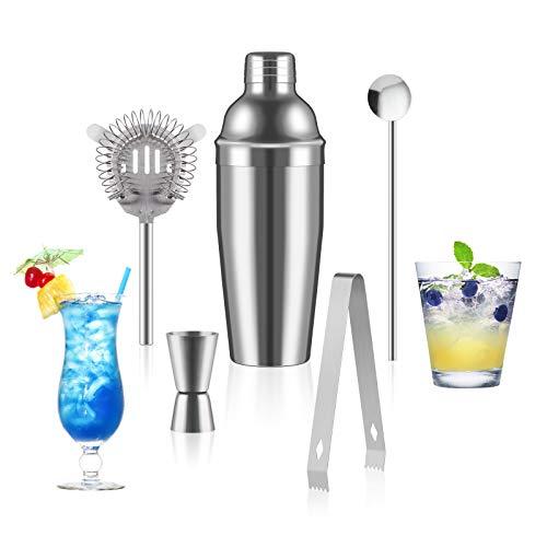 Cocktail Kit Edelstahl, Danolt Cocktail Mixing Shaker Set 750 ml Edelstahl Cocktail Making Kit für Zuhause Bar mit Sieb, Löffelfür, Eiszange, Messbecher