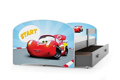 Kinderbett LUKI, Farbe: Grau 160x80cm, mit Matratze, Lattenrost und Schublade (AUTO)