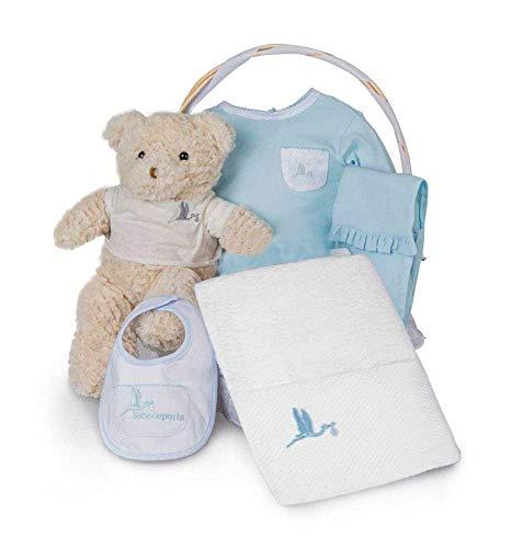 BebeDeParis | Cadeaux originaux pour les nouveau-nés | Panier spa essentiel | Idéal pour | 3-6 mois (Bleu)