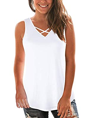 White Tanks for Women's and Juniors Summer Lightweight Breathable Cami Tops XL