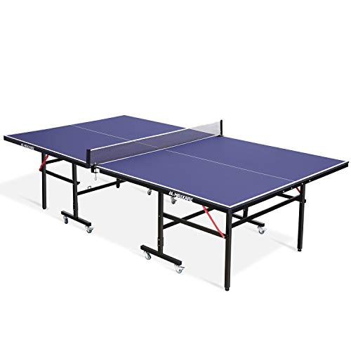MaxKare Table Tennis Table 15mm MDF Foldable Ping Pong Table Standard Size 9x5 FT 70% Preassembled Multi-Use with Casters and Easy Attach Net