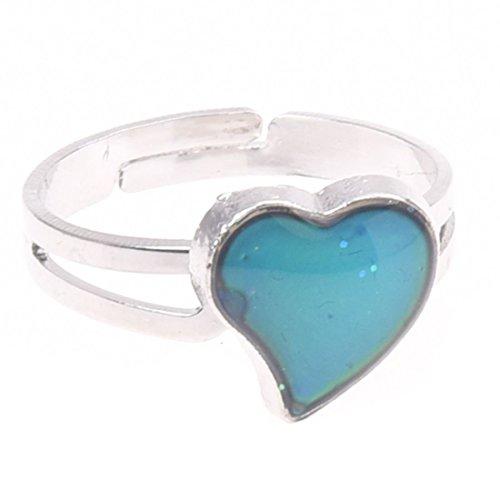TOOGOO(R) Anillo de humor en forma de corazon plateado de cambio de color -- Caracteriza una banda de anillo ajustable