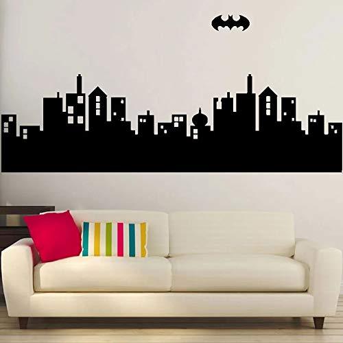 Ciudad gótica Skyline Batman vinilo etiqueta de la pared decoración de la pared del hogar Art Deco