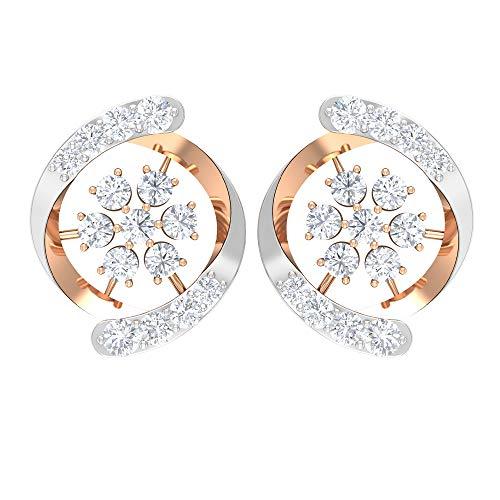 Pendiente de flor de diamante certificado SGL de 0,43 ct, único para mujer, mezcla de metal, diamante, clásico, boda, nupcial, oro, 18K Oro rosa, Par