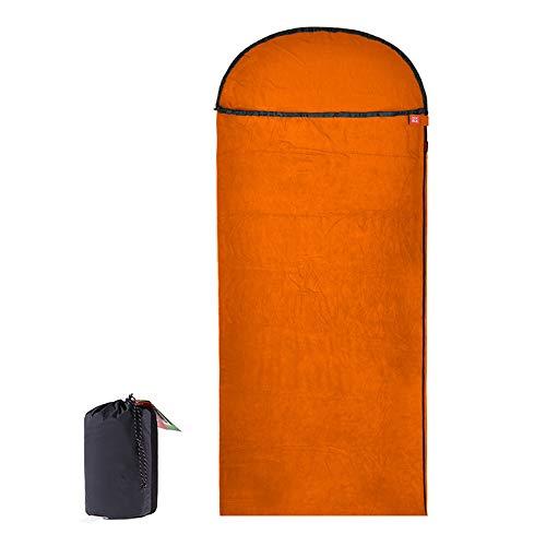 Sac De Couchage D'été en Laine Polaire pour Adulte Sac De Couchage Léger en Enveloppe pour Voyage De Camping en Plein Air,Orange