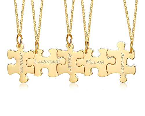 PJ Jewelry Personalized Customized 3/4/5 Pieces Matching Puzzle Piece BFF Friendship Necklaces Set,Soul Sister Gift
