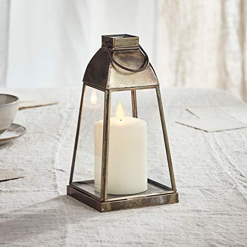 Lights4fun - Lanterna a Trapezio di Metallo e Vetro Artigianale con TruGlow Candela LED a Pile per Uso in Interni