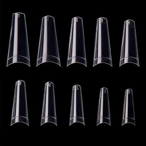 Nail Tips, Niuta 500pcs Lady French Acrylic Style Artificial False Nails Half Tips (Clear)