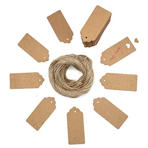 YiGo 100 Geschenkanhänger, Kraftpapier, mit gratis-Schnüren, für Geschenke, zum Basteln, als Preis-Etiketten Rectangular with Heart