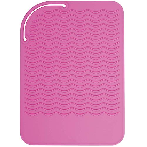 "Sygile 11"" X 7.5"" Larger Size Heat Resistant Silicone Travel Mat, Anti-heat Pad for Hair Straighteners, Curling Irons, Flat Irons and Other Hot Styling Tools - Baby Pink"