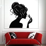 wZUN Etiqueta de la Pared Hair Salon Girl and Rose Mural Art Beauty Salon Etiqueta de la Pared Vinyl Sticker Mobile 50x56cm