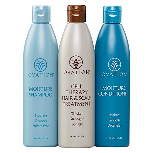 Ovation Moisture Cell Therapy 12 oz. System - Get Stronger, Fuller, and Healthier looking hair with Natural Ingredients. Includes Shampoo, Conditioner, Cleanser. Made in the USA