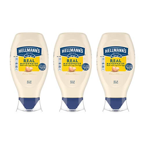 Hellmann's Real Mayonnaise For a Creamy Condiment Real Mayo Squeeze Bottle Gluten Free, Made With 100% Cage-Free Eggs 20 oz 3 count