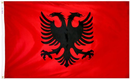 Annin Flagmakers Model 190183 Albania Flag 3x5 ft. Nylon SolarGuard Nyl-Glo 100% Made in USA to Official United Nations Design Specifications.