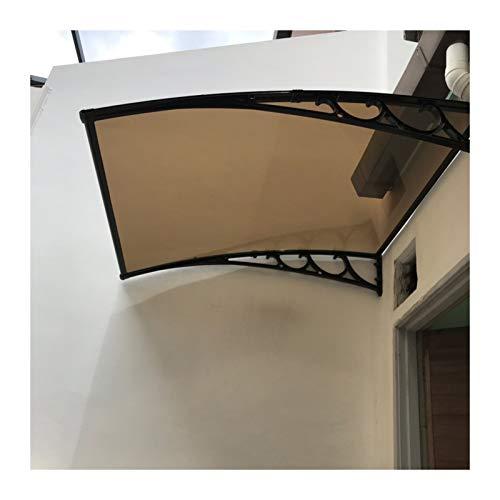 GuoWei Marquesina para Puertas Ventanas, Protector Solar De Policarbonato para Porche Exterior, Refugio De Terraza Jardín Translúcido, Tamaño Personalizado (Color : Brown, Size : 80x100cm)
