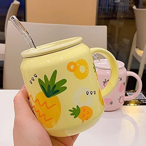 Café Cerámica Desayuno Regalos Linda Taza De Cerámica De Frutas Con Estilo De Paja, Taza De Fresa, Botella De Agua Para Niñas, Pareja, Tazas De Porcelana, Tazas De Café