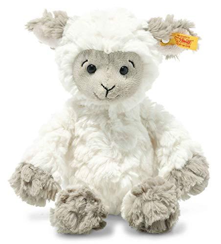 Steiff 073946 Original Plüschtier Lita Lamm, Soft Cuddly Friends Kuscheltier ca. 20 cm, Markenplüsch mit Knopf im Ohr, Schmusefreund für Babys von Geburt an, weiß-braungrau