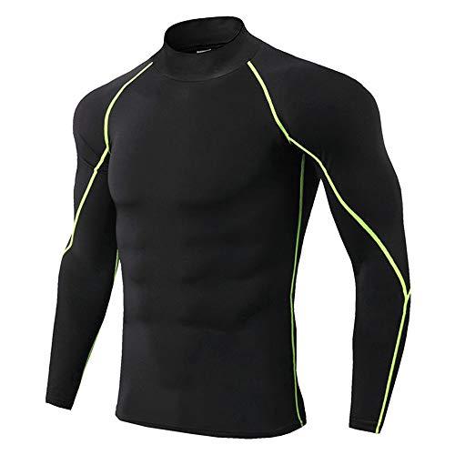 U/A Thermounterwäsche für Herren, hoher Kragen, Sport, Thermo-Shirt, schnelltrocknend, komprimierte Unterwäsche, Kleidung Herren Gr. L, 3