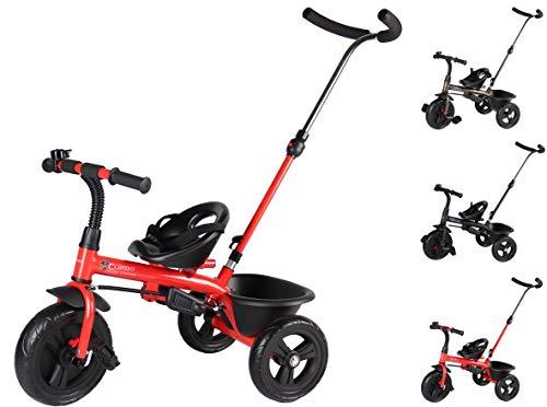 Clamaro 'Buttler Basic' 2in1 Kinder Dreirad ab 1 Jahr mit lenkbarer Schubstange, mit flüsterleisen Gummireifen, Vor- und Rücklauf, Kinderdreirad für Jungen und Mädchen - Rot