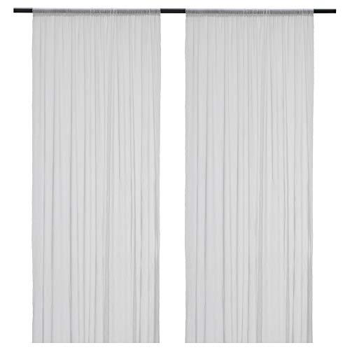 HILDRUN - Cortinas transparentes (1 par, 145 x 300 cm), color blanco