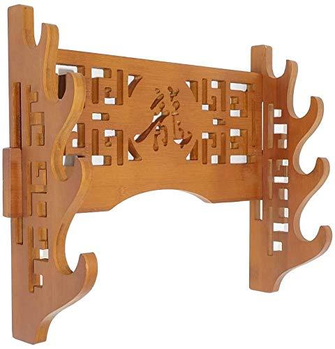 SQINAA Schwertständer Wandhalterung Bambus Samurai-Schwert-Rack Hanger Samurai-Schwert Wakizashi Tanto Genji-Bahnhof 4Th Floor-Drache-Charakter