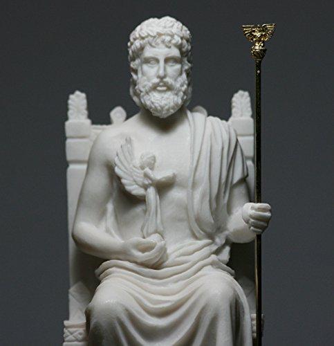 King of Gods Zeus Jupiter Greek Alabaster Statue Figurine Sculpture Decor 10.6 inches