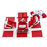 """Explosive Box : When closed, the box looks like a gift box and when open, all the sides fall back to reveal a 3 Layered card. Explosive Box Size : Opend about with 12"""" by 12"""" , folded with Measuring 4 by 4 by 4 inches when closed Handmade : write and..."""