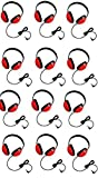 Califone 2800-RD Listening First Stereo Headphones for Kids Bundle (Red) (12 Items)