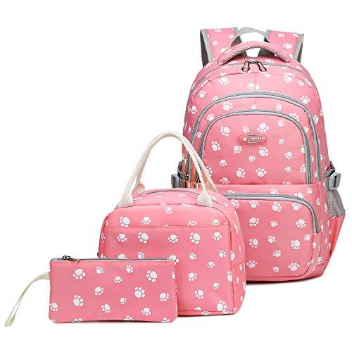 Goldwheat Water Resistant School Backpack for Girls Kids Bookbag Elementary Junior High School Bag with Lunch Bag