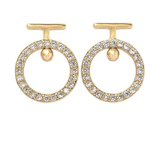 Pendientes de joyería en plata 925 simplemente con agujas alrededor de los pendientes de circonita cúbica Pendientes de diseñador de oro de 14K