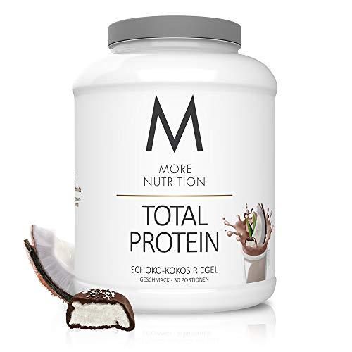 MORE NUTRITION Total Protein Eiweiß-Pulver mit Whey und Casein – 1500 g Schoko-Kokos Riegel (+ weitere Sorten) mit Aminosäuren und Laktase – Anti-Heißhunger, Gewichtsmanagement und Muskelaufbau