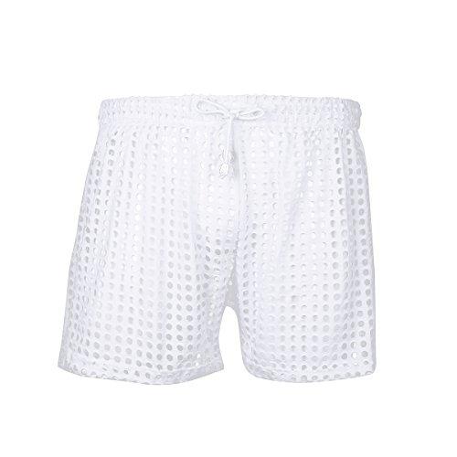 Yeahdor Netz Shorts Herren Transparent Slips Boxershorts mit Kordelzug Kurz Pants Badeshorts Erotik Unterwäsche Freizeitshorts Weiß L