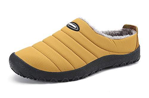 Zapatillas de Estar para Casa Hombre Mujer Invierno Calentitas Zapatillas de Deporte con Suela Antideslizante,Amarillo,36