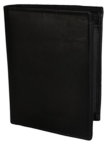 2Store24 Herren Ledergeldbörse Geldbeutel Hochformat in schwarz