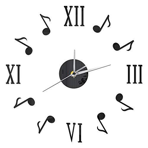 Wandaufkleber DIY Wanduhr Römische Notiz Mute Retro Dekorative Wohnzimmer Uhr Uhren Acryl Spiegeleffekt Wandaufkleber Mordern Wohnkultur Majake (Color : Black)