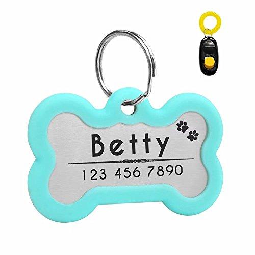 Didog Etiquetas de identificación de perro con grabado personalizado y brillante, silenciador oscuro para proteger la etiqueta y el grabado, acero inoxidable, forma de hueso