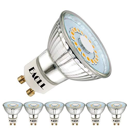 EACLL GU10 LED Warmweiss 5W Leuchtmittel 425 Lumen 2700K Birnen kann Ersetzen 50W Halogen. AC 230V Kein Strobe Strahler, Abstrahlwinkel 120 ° Reflektor Lampen, Warmweiß Licht Spotleuchten, 6 Pack