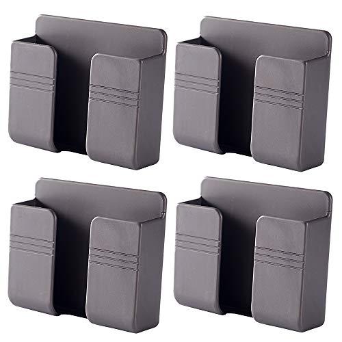 4 piezas de soporte de pared para teléfono móvil, soporte de pared adhesivo 3M para cargador, soporte de teléfono para cama de ducha pared (gris)