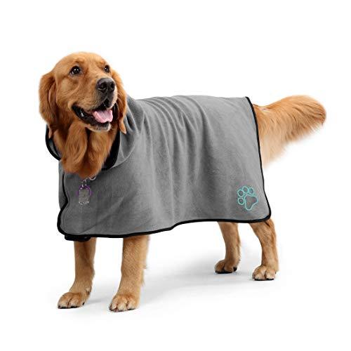 Aoweika Hundebademantel Handtuch mit verstellbarem Riemen, Schnell Trocknendes, Superabsorbierendes Haustier-Katzentuch aus Mikrofaser, Feuchtigkeitsabsorbierender Bademantel