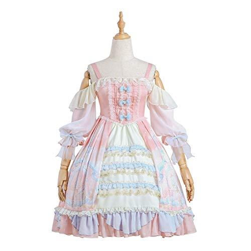 何かメイドコスチューム ピンクのビクトリア朝のロリータスウィートソフトピンクオプススカートヴィンテージドレスプリントカワイイガールズかわいいプリンセスドレス (Color : Dress Bow, Size : S)