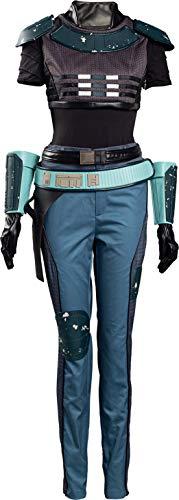 Cosplaysky Cara Dune Costume for The Mandalorian Cosplay Halloween Bounty Hunter Outfit Medium Blue