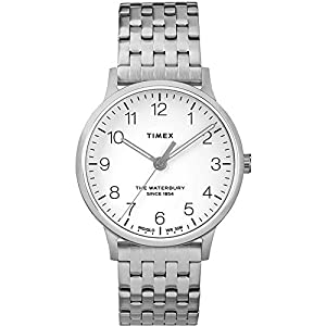 Timex Waterbury Classic White Dial Stainless Steel Band Ladies Watch