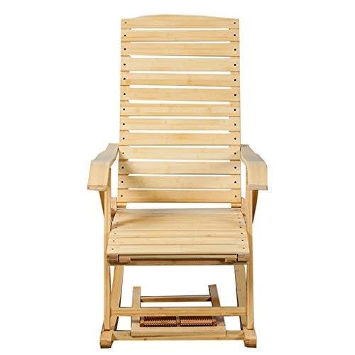 Hfyg Chaise Longue Relaxation Bambou Chaise berçante inclinables Chaise de balançoire lit Sieste d'été avec Repose-Pied de Massage évolutif des chaises Longues