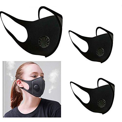 Nyyi 3pcs Mondmasker, herbruikbaar, stofdicht gezichtsmasker met ademventielen, fietsmaskers voor mannen en vrouwen zwart